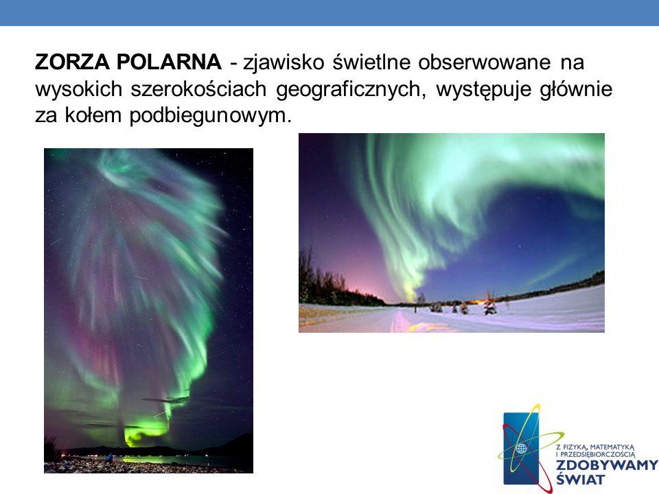 ZORZA POLARNA - zjawisko świetlne obserwowane na wysokich szerokościach geograficznych, występuje głównie za kołem podbiegunowym.