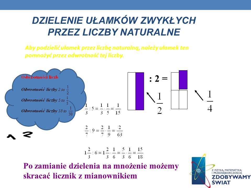 Mnożenie ułamków przez liczby naturalne Obliczanie ułamka danej liczby