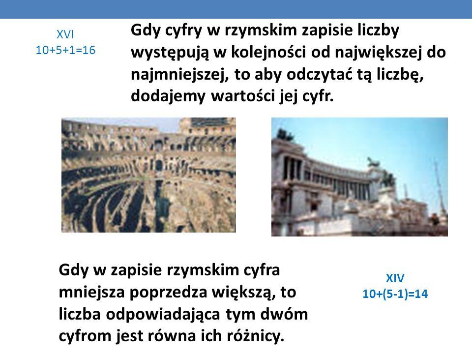 RZYMSKI SYSTEM ZAPISYWANIA LICZB W systemie rzymskim posługujemy się znakami: I, V, X, L, C, D, M, gdzie: I = 1, V = 5, X = 10, L = 50, C = 100, D = 5