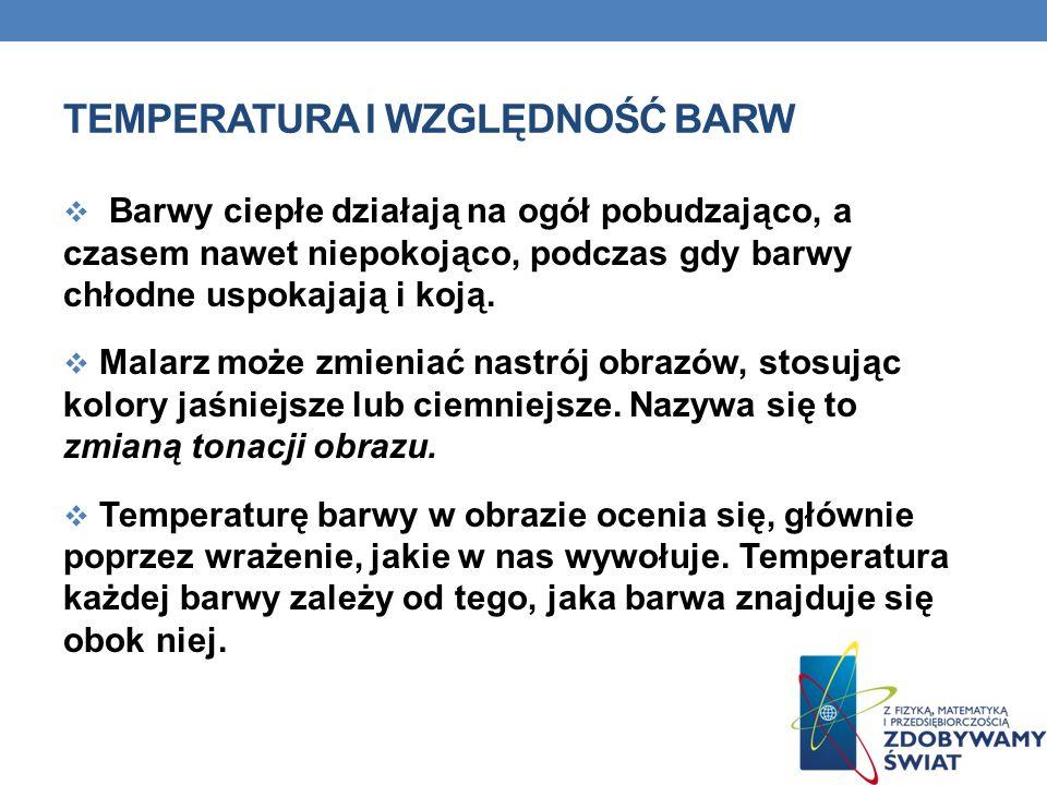 TEMPERATURA I WZGLĘDNOŚĆ BARW Barwy ciepłe działają na ogół pobudzająco, a czasem nawet niepokojąco, podczas gdy barwy chłodne uspokajają i koją. Mala