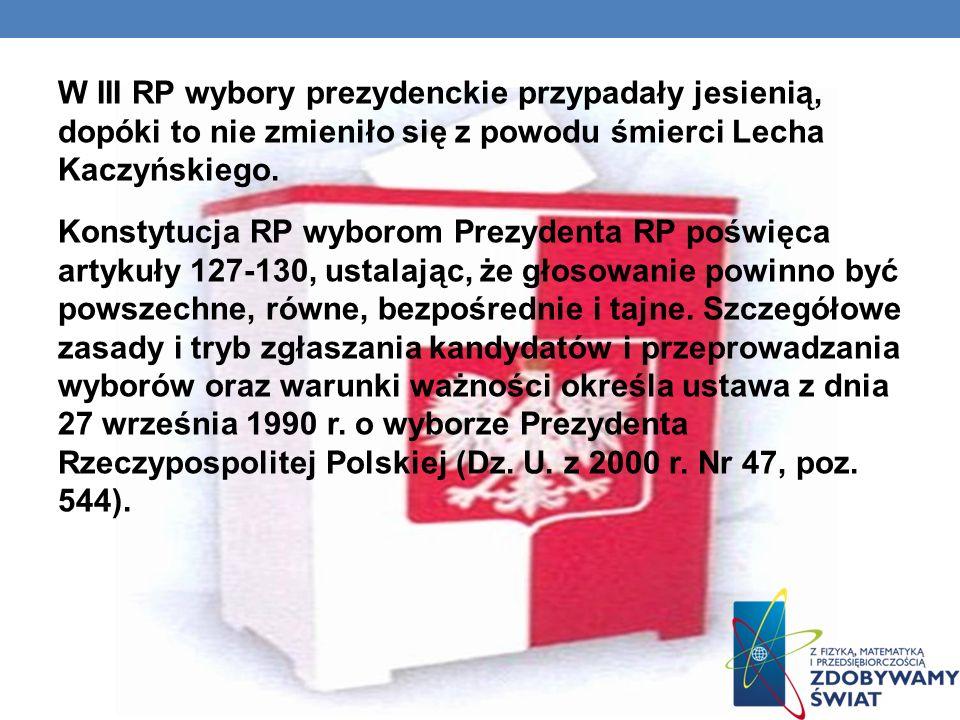 W III RP wybory prezydenckie przypadały jesienią, dopóki to nie zmieniło się z powodu śmierci Lecha Kaczyńskiego.