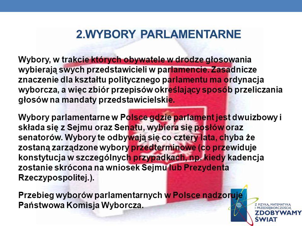 2.WYBORY PARLAMENTARNE Wybory, w trakcie których obywatele w drodze głosowania wybierają swych przedstawicieli w parlamencie.
