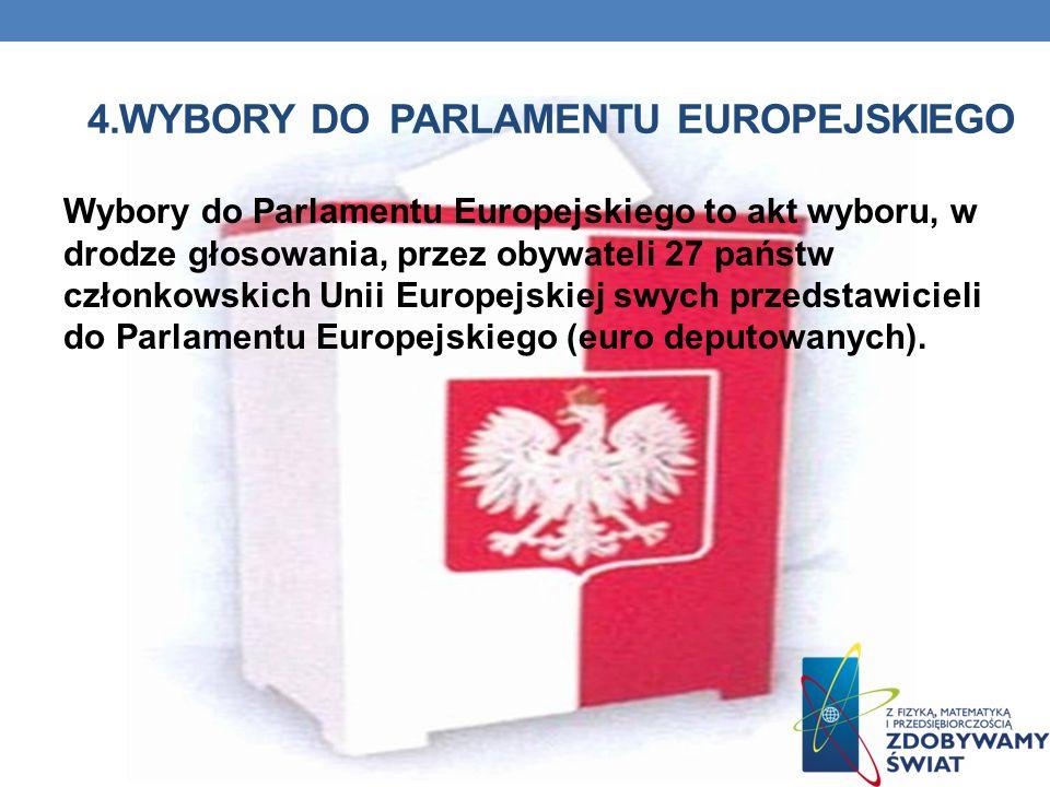 4.WYBORY DO PARLAMENTU EUROPEJSKIEGO Wybory do Parlamentu Europejskiego to akt wyboru, w drodze głosowania, przez obywateli 27 państw członkowskich Unii Europejskiej swych przedstawicieli do Parlamentu Europejskiego (euro deputowanych).