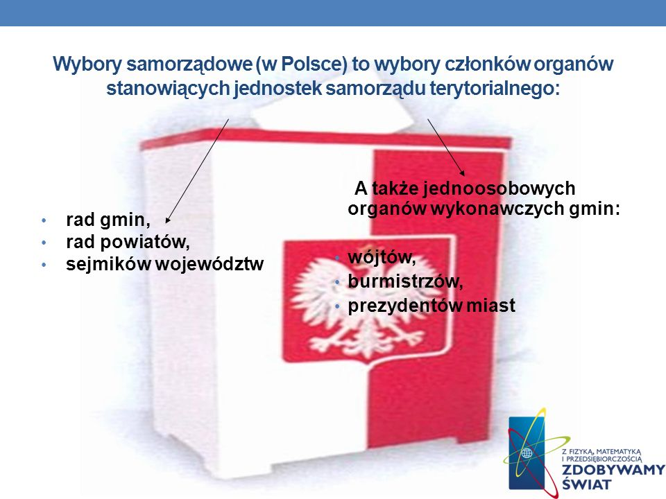 Wybory samorządowe (w Polsce) to wybory członków organów stanowiących jednostek samorządu terytorialnego: rad gmin, rad powiatów, sejmików województw A także jednoosobowych organów wykonawczych gmin: wójtów, burmistrzów, prezydentów miast
