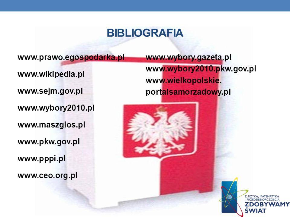 BIBLIOGRAFIA www.prawo.egospodarka.pl www.wikipedia.pl www.sejm.gov.pl www.wybory2010.pl www.maszglos.pl www.pkw.gov.pl www.pppi.pl www.ceo.org.pl www.wybory.gazeta.pl www.wybory2010.pkw.gov.pl www.wielkopolskie.