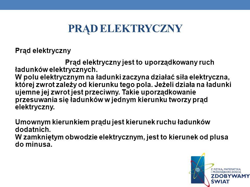 PRĄD ELEKTRYCZNY Prąd elektryczny Prąd elektryczny jest to uporządkowany ruch ładunków elektrycznych. W polu elektrycznym na ładunki zaczyna działać s