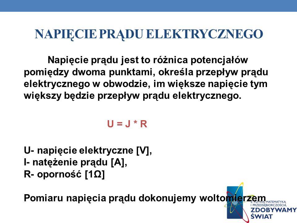 NAPIĘCIE PRĄDU ELEKTRYCZNEGO Napięcie prądu jest to różnica potencjałów pomiędzy dwoma punktami, określa przepływ prądu elektrycznego w obwodzie, im w