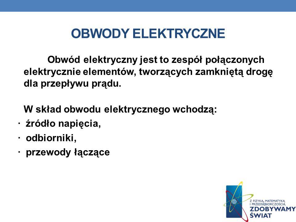 OBWODY ELEKTRYCZNE Obwód elektryczny jest to zespół połączonych elektrycznie elementów, tworzących zamkniętą drogę dla przepływu prądu. W skład obwodu