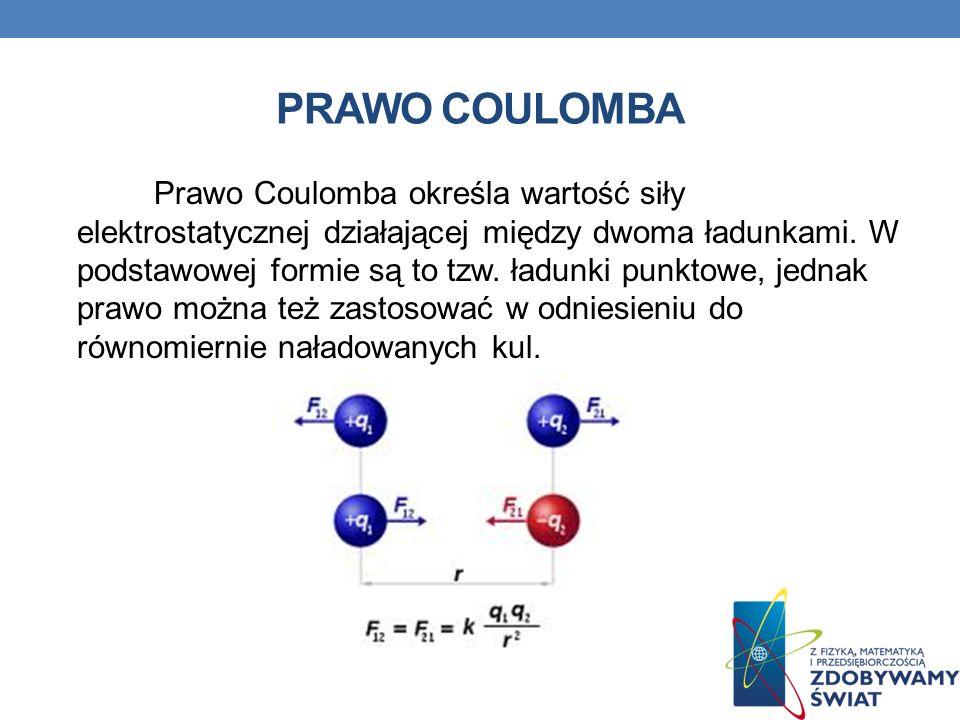 PRAWO COULOMBA Prawo Coulomba określa wartość siły elektrostatycznej działającej między dwoma ładunkami. W podstawowej formie są to tzw. ładunki punkt