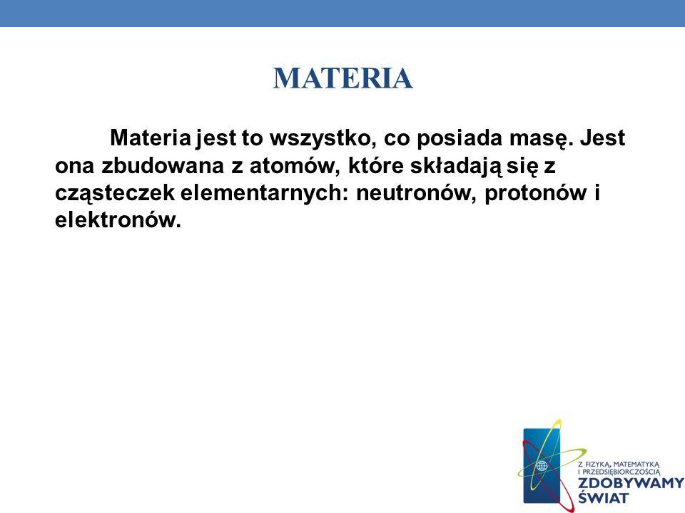 MATERIA Materia jest to wszystko, co posiada masę. Jest ona zbudowana z atomów, które składają się z cząsteczek elementarnych: neutronów, protonów i e