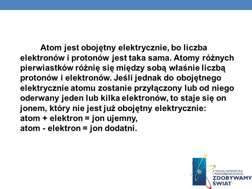 Atom jest obojętny elektrycznie, bo liczba elektronów i protonów jest taka sama. Atomy różnych pierwiastków różnię się między sobą właśnie liczbą prot