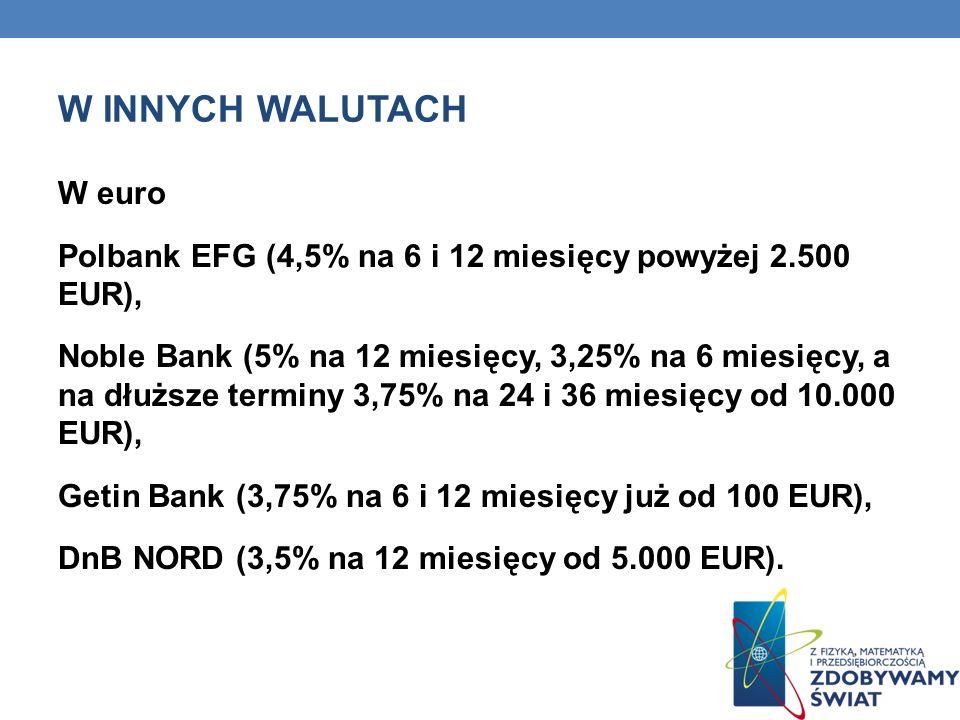 W INNYCH WALUTACH W euro Polbank EFG (4,5% na 6 i 12 miesięcy powyżej 2.500 EUR), Noble Bank (5% na 12 miesięcy, 3,25% na 6 miesięcy, a na dłuższe ter