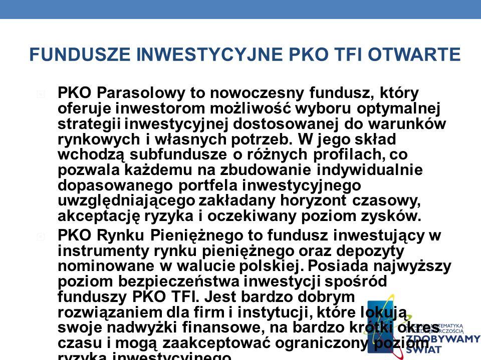 FUNDUSZE INWESTYCYJNE PKO TFI OTWARTE PKO Parasolowy to nowoczesny fundusz, który oferuje inwestorom możliwość wyboru optymalnej strategii inwestycyjn