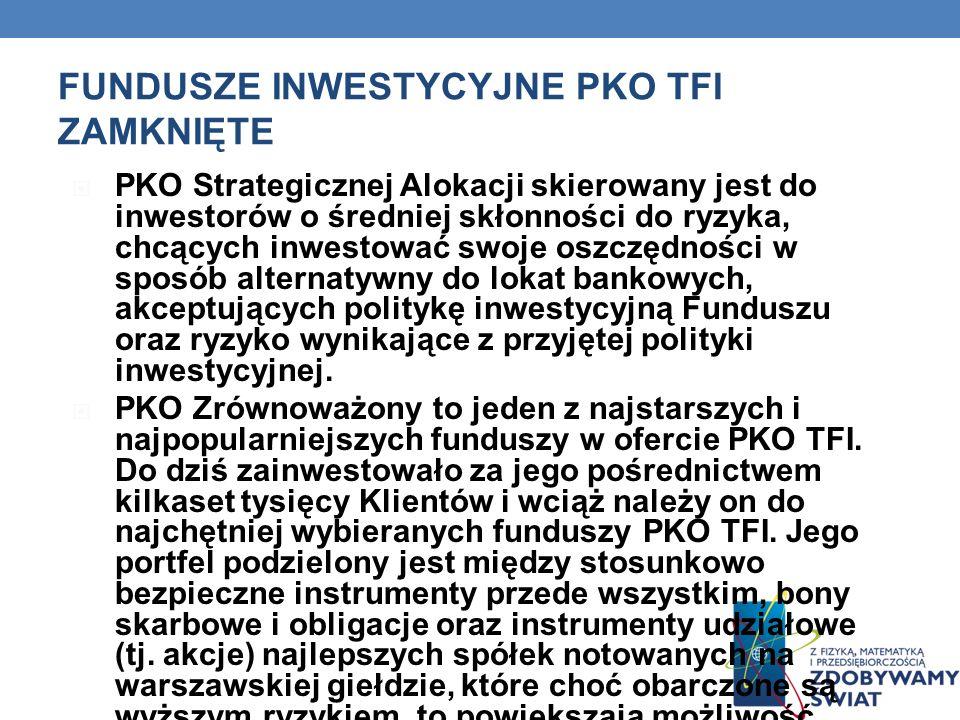 FUNDUSZE INWESTYCYJNE PKO TFI ZAMKNIĘTE PKO Strategicznej Alokacji skierowany jest do inwestorów o średniej skłonności do ryzyka, chcących inwestować