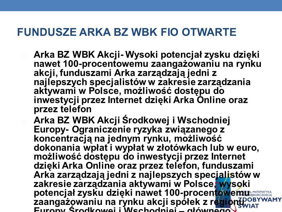FUNDUSZE ARKA BZ WBK FIO OTWARTE Arka BZ WBK Akcji- Wysoki potencjał zysku dzięki nawet 100-procentowemu zaangażowaniu na rynku akcji, funduszami Arka