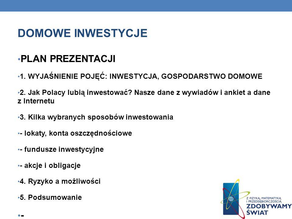 DOMOWE INWESTYCJE PLAN PREZENTACJI 1. WYJAŚNIENIE POJĘĆ: INWESTYCJA, GOSPODARSTWO DOMOWE 2. Jak Polacy lubią inwestować? Nasze dane z wywiadów i ankie