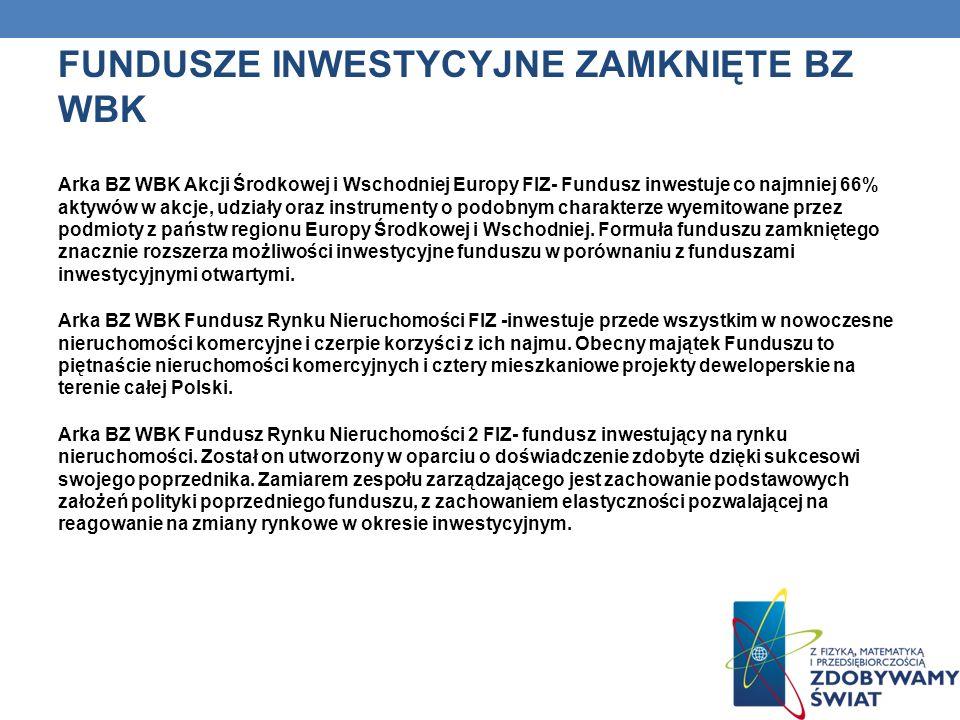 FUNDUSZE INWESTYCYJNE ZAMKNIĘTE BZ WBK Arka BZ WBK Akcji Środkowej i Wschodniej Europy FIZ- Fundusz inwestuje co najmniej 66% aktywów w akcje, udziały