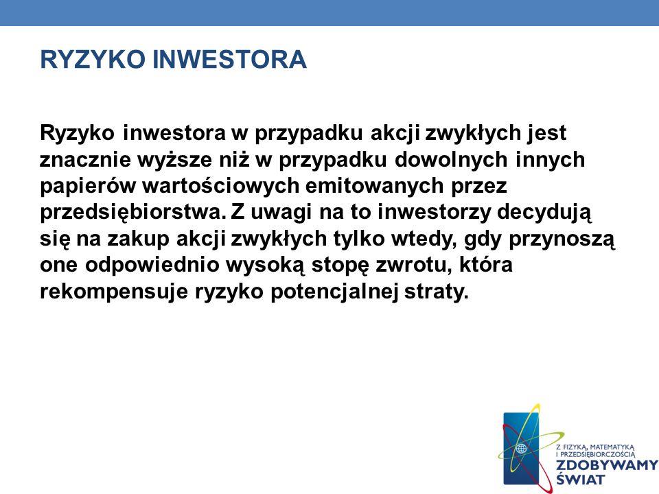 RYZYKO INWESTORA Ryzyko inwestora w przypadku akcji zwykłych jest znacznie wyższe niż w przypadku dowolnych innych papierów wartościowych emitowanych