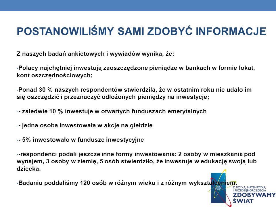 POSTANOWILIŚMY SAMI ZDOBYĆ INFORMACJE Z naszych badań ankietowych i wywiadów wynika, że: - Polacy najchętniej inwestują zaoszczędzone pieniądze w bank