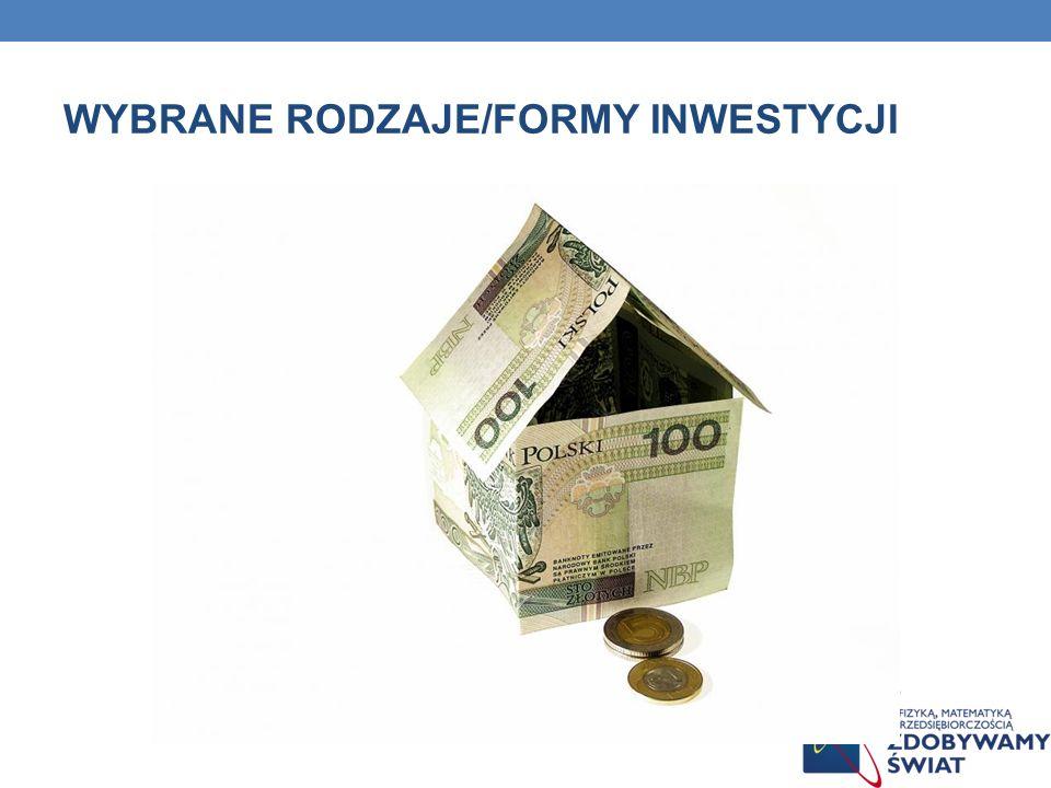 RODZAJE FUNDUSZY ZE WZGLĘDU NA CEL INWESTYCYJNY Fundusze agresywnego wzrostu Fundusze akcji małych spółek Fundusze wzrostu kapitałowego Fundusze wzrostu i dochodu z kapitału Fundusze mieszane (zrównoważone) Fundusze łącznej stopy zwrotu Fundusze dochodu z kapitału Fundusze obligacji Fundusze rynku pieniężnego Fundusze rynków zagranicznych Fundusze branżowe