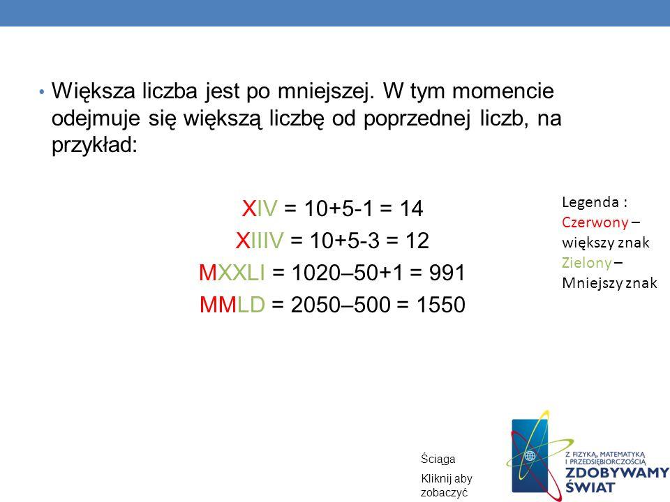 Większa liczba jest po mniejszej. W tym momencie odejmuje się większą liczbę od poprzednej liczb, na przykład: XIV = 10+5-1 = 14 XIIIV = 10+5-3 = 12 M