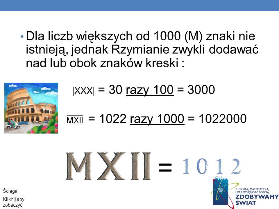 Dla liczb większych od 1000 (M) znaki nie istnieją, jednak Rzymianie zwykli dodawać nad lub obok znaków kreski :  XXX  = 30 razy 100 = 3000 = 1022 raz
