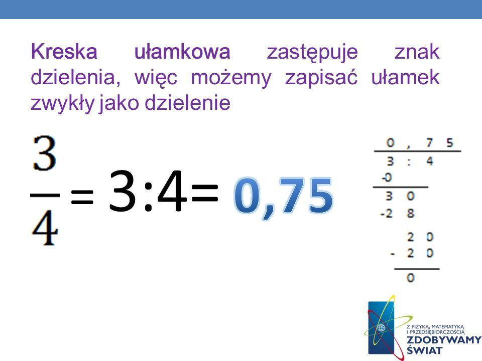 Kreska ułamkowa zastępuje znak dzielenia, więc możemy zapisać ułamek zwykły jako dzielenie = 3:4=
