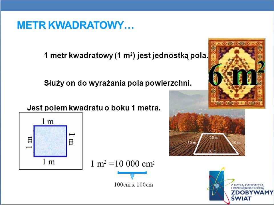 METR KWADRATOWY… 1 metr kwadratowy (1 m 2 ) jest jednostką pola. Służy on do wyrażania pola powierzchni. Jest polem kwadratu o boku 1 metra. 1 m 2 =10