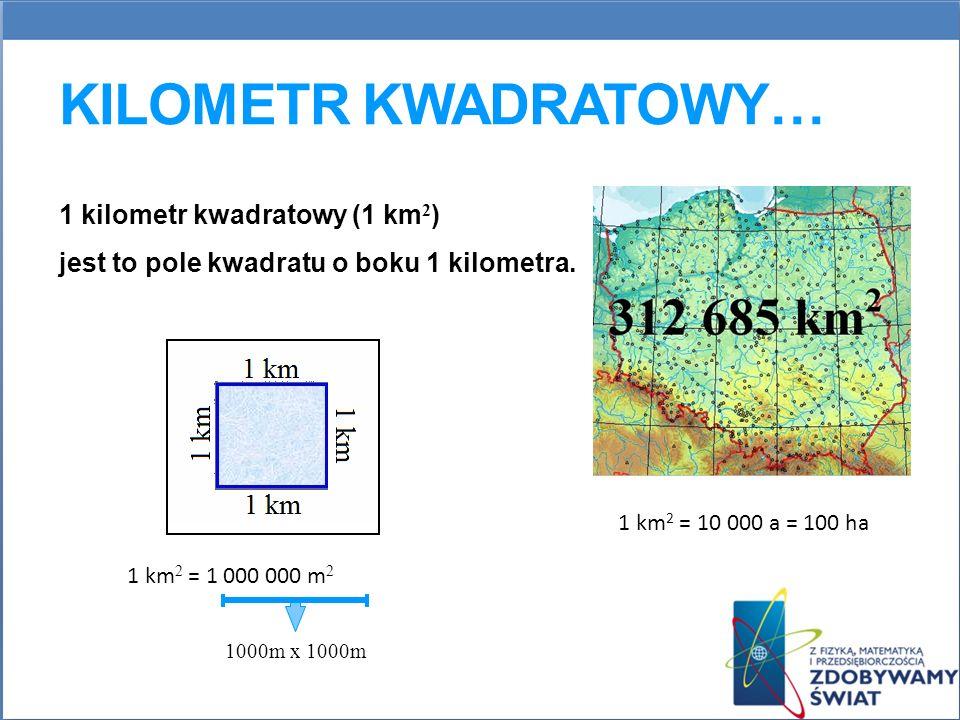 KILOMETR KWADRATOWY… 1 kilometr kwadratowy (1 km 2 ) jest to pole kwadratu o boku 1 kilometra. 1000m x 1000m 1 km 2 = 10 000 a = 100 ha 1 km 2 = 1 000