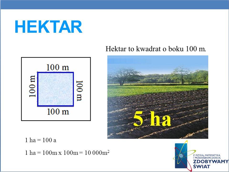 HEKTAR Hektar to kwadrat o boku 100 m. 1 ha = 100m x 100m = 10 000m 2 1 ha = 100 a