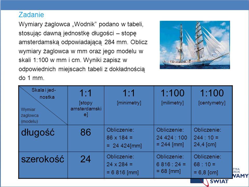 Zadanie Wymiary żaglowca Wodnik podano w tabeli, stosując dawną jednostkę długości – stopę amsterdamską odpowiadającą 284 mm. Oblicz wymiary żaglowca