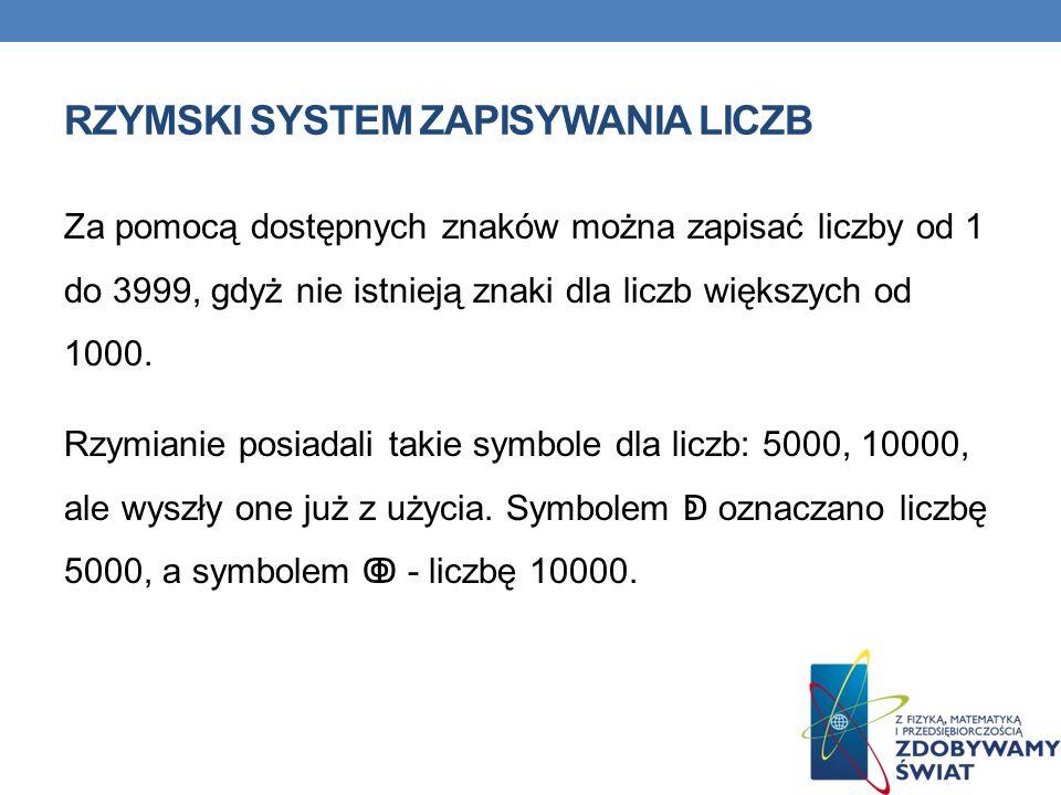 RZYMSKI SYSTEM ZAPISYWANIA LICZB Za pomocą dostępnych znaków można zapisać liczby od 1 do 3999, gdyż nie istnieją znaki dla liczb większych od 1000. R