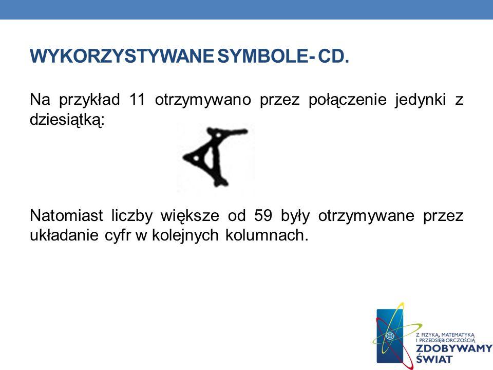 WYKORZYSTYWANE SYMBOLE- CD. Na przykład 11 otrzymywano przez połączenie jedynki z dziesiątką: Natomiast liczby większe od 59 były otrzymywane przez uk