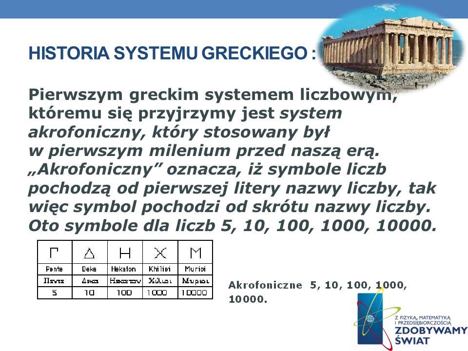 HISTORIA SYSTEMU GRECKIEGO : Pierwszym greckim systemem liczbowym, któremu się przyjrzymy jest system akrofoniczny, który stosowany był w pierwszym mi