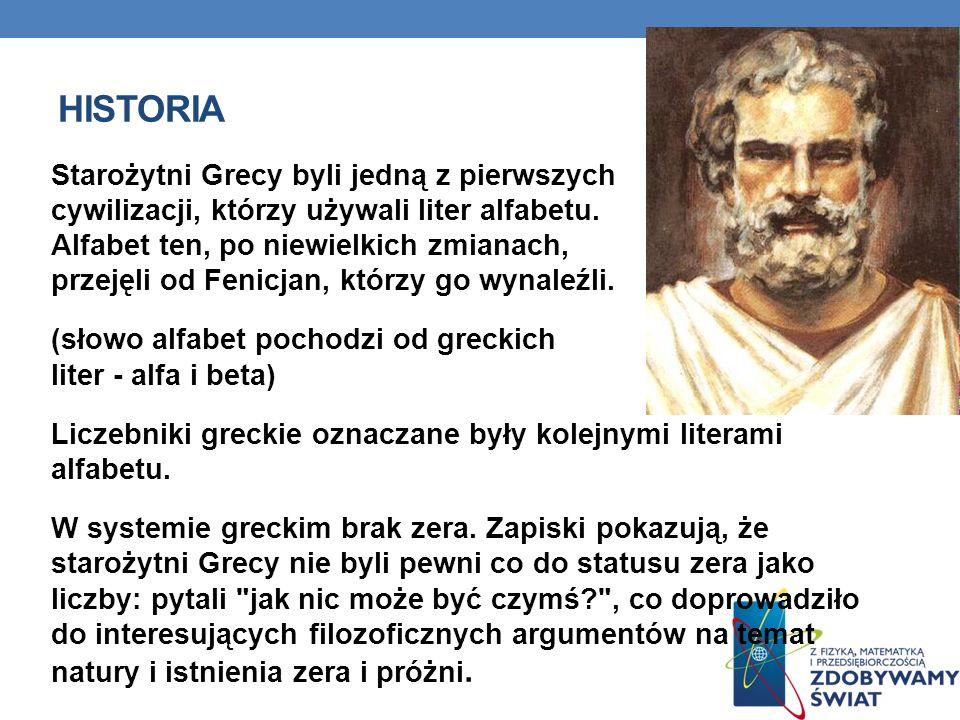HISTORIA Starożytni Grecy byli jedną z pierwszych cywilizacji, którzy używali liter alfabetu. Alfabet ten, po niewielkich zmianach, przejęli od Fenicj