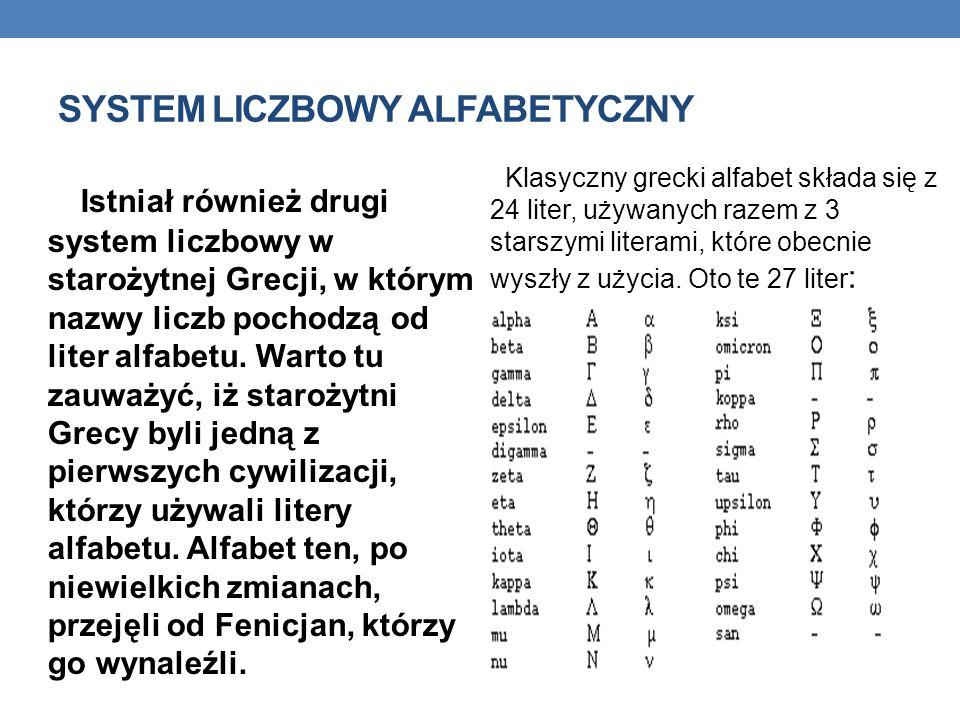 SYSTEM LICZBOWY ALFABETYCZNY Istniał również drugi system liczbowy w starożytnej Grecji, w którym nazwy liczb pochodzą od liter alfabetu. Warto tu zau
