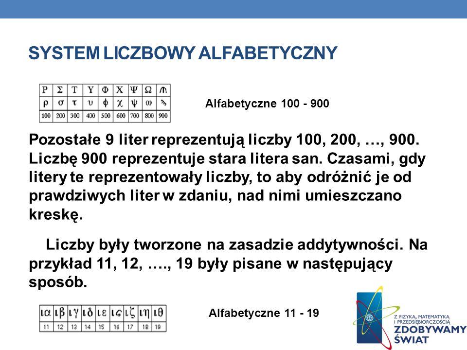 SYSTEM LICZBOWY ALFABETYCZNY Pozostałe 9 liter reprezentują liczby 100, 200, …, 900. Liczbę 900 reprezentuje stara litera san. Czasami, gdy litery te