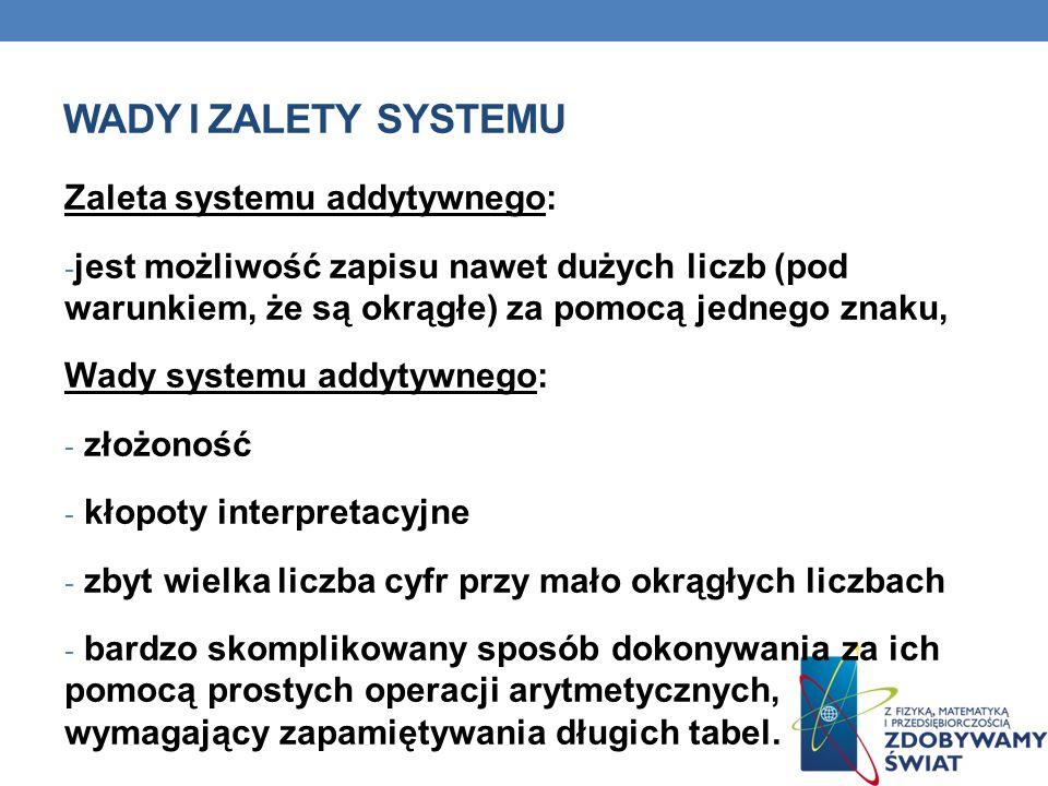 WADY I ZALETY SYSTEMU Zaleta systemu addytywnego: - jest możliwość zapisu nawet dużych liczb (pod warunkiem, że są okrągłe) za pomocą jednego znaku, W