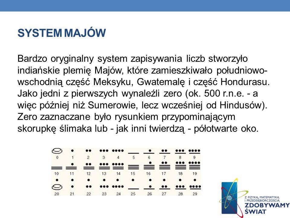 SYSTEM MAJÓW Bardzo oryginalny system zapisywania liczb stworzyło indiańskie plemię Majów, które zamieszkiwało południowo- wschodnią część Meksyku, Gw