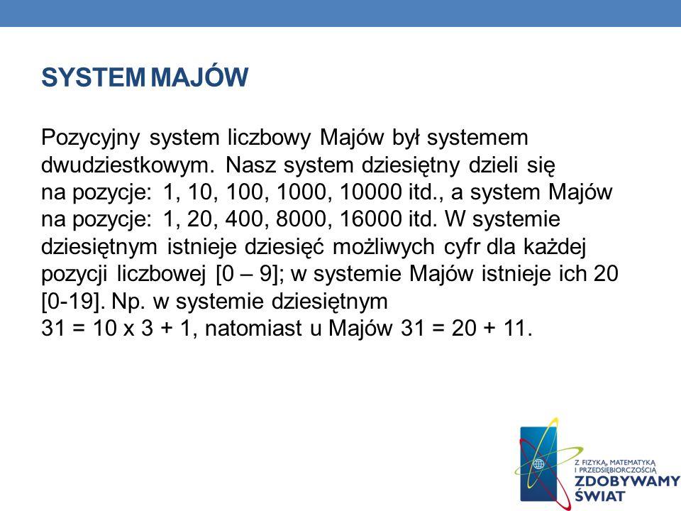 SYSTEM MAJÓW Pozycyjny system liczbowy Majów był systemem dwudziestkowym. Nasz system dziesiętny dzieli się na pozycje: 1, 10, 100, 1000, 10000 itd.,