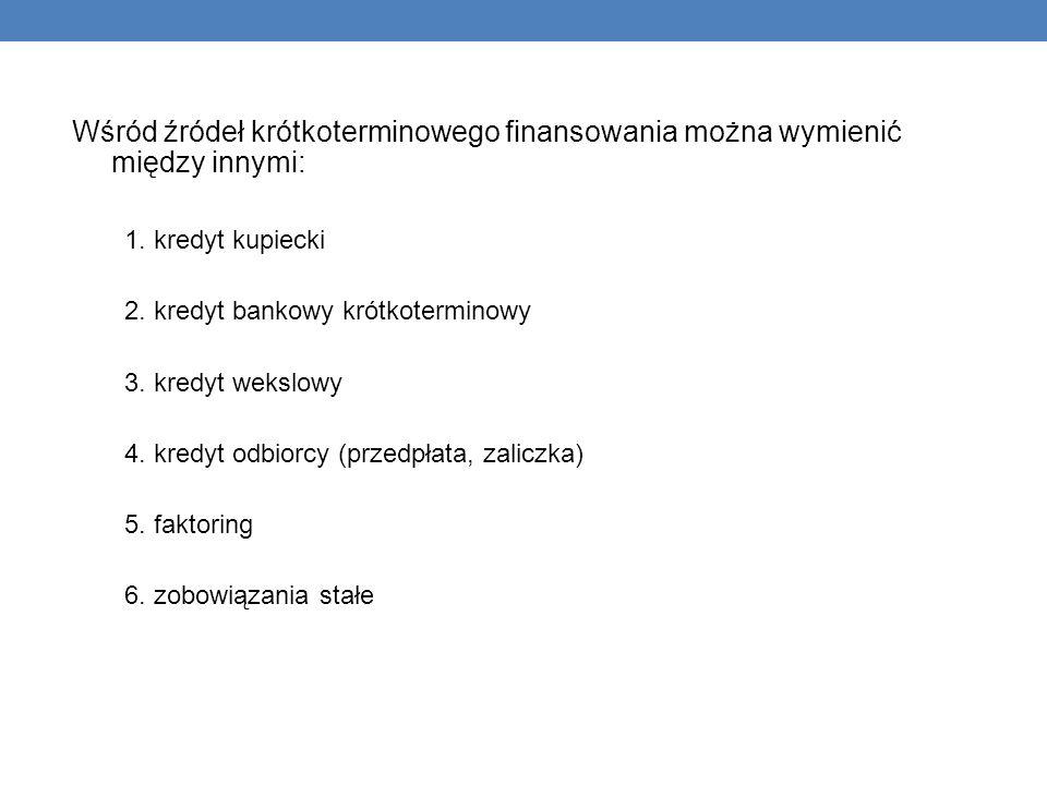 Wśród źródeł krótkoterminowego finansowania można wymienić między innymi: 1. kredyt kupiecki 2. kredyt bankowy krótkoterminowy 3. kredyt wekslowy 4. k