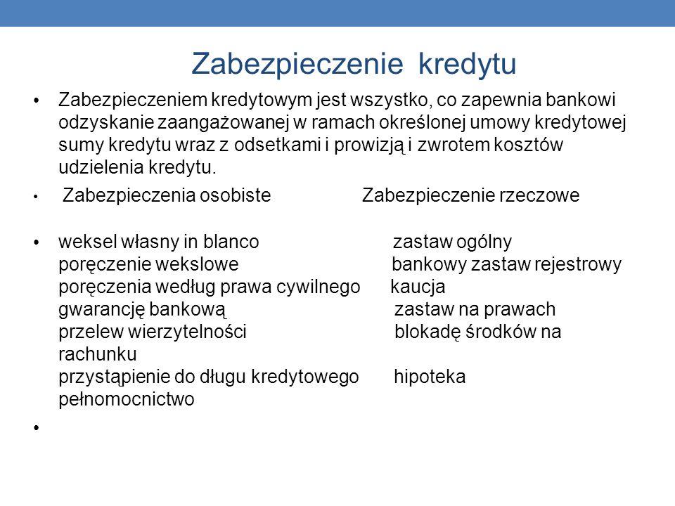 Zabezpieczenie kredytu Zabezpieczeniem kredytowym jest wszystko, co zapewnia bankowi odzyskanie zaangażowanej w ramach określonej umowy kredytowej sum