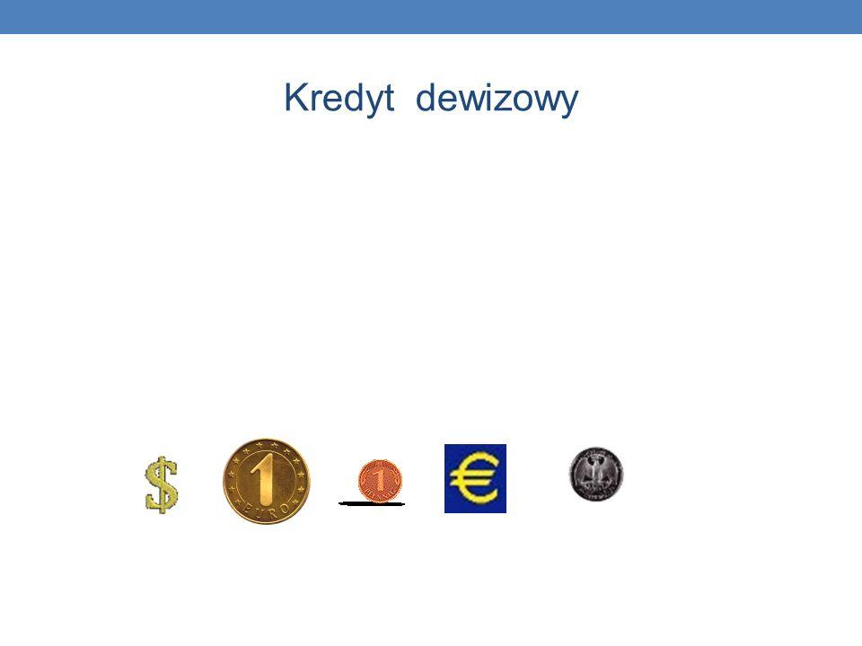 Kredyt dewizowy Kredyt dewizowy - udzielany jest m.in. w: dolarach, euro, funtach brytyjskich, frankach szwajcarskich. Kredyty mogą być oprocentowane