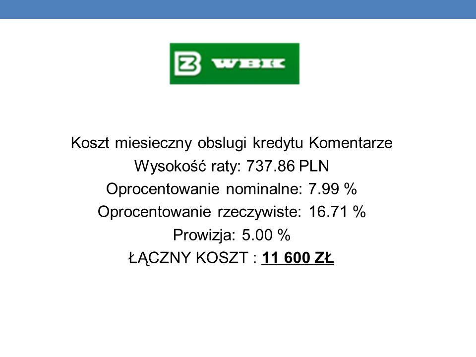 Koszt miesieczny obslugi kredytu Komentarze Wysokość raty: 737.86 PLN Oprocentowanie nominalne: 7.99 % Oprocentowanie rzeczywiste: 16.71 % Prowizja: 5