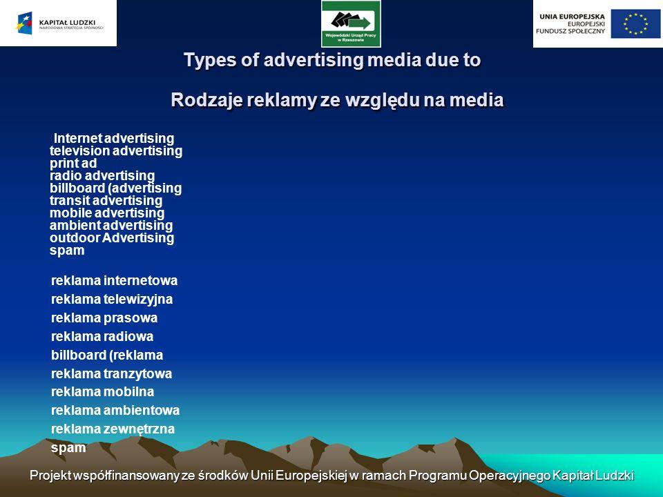 Projekt współfinansowany ze środków Unii Europejskiej w ramach Programu Operacyjnego Kapitał Ludzki Types of advertising media due to Rodzaje reklamy