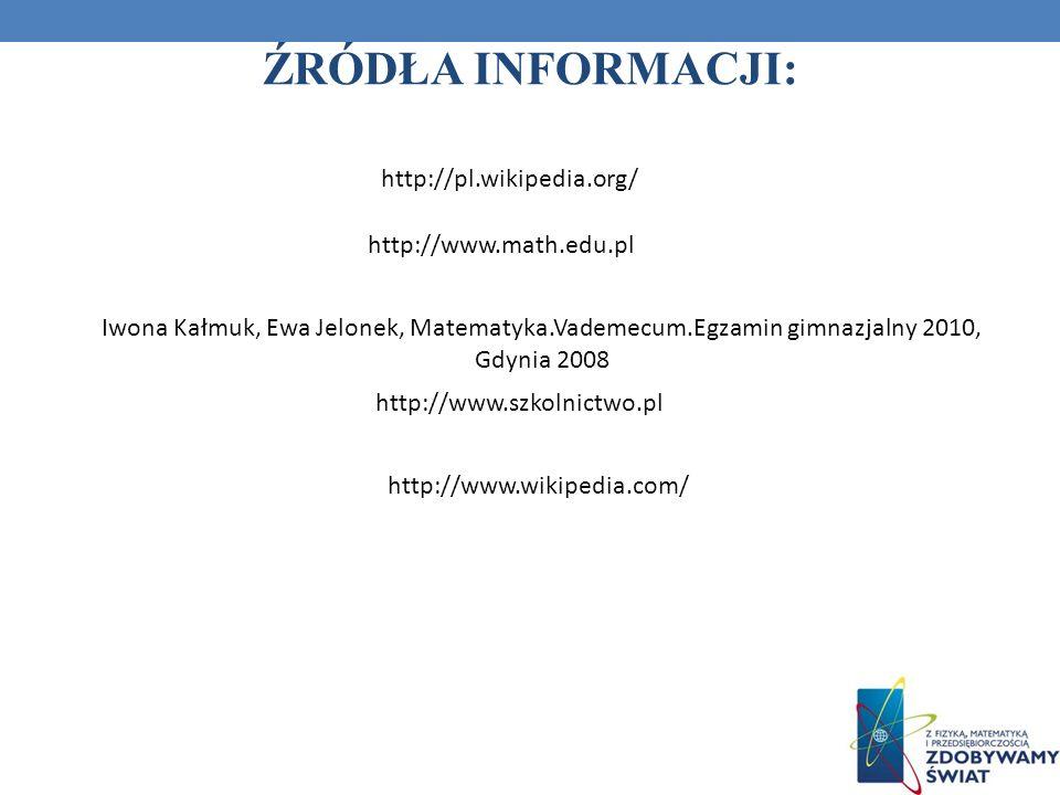 http://pl.wikipedia.org/ http://www.math.edu.pl ŹRÓDŁA INFORMACJI: Iwona Kałmuk, Ewa Jelonek, Matematyka.Vademecum.Egzamin gimnazjalny 2010, Gdynia 20