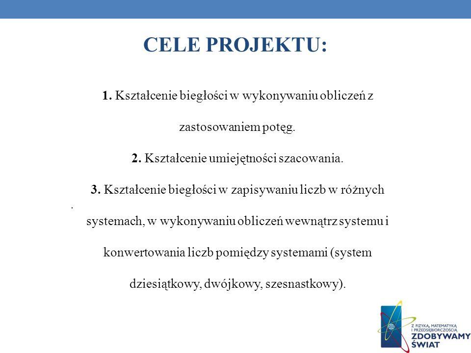 CELE PROJEKTU: 1. Kształcenie biegłości w wykonywaniu obliczeń z zastosowaniem potęg. 2. Kształcenie umiejętności szacowania. 3. Kształcenie biegłości