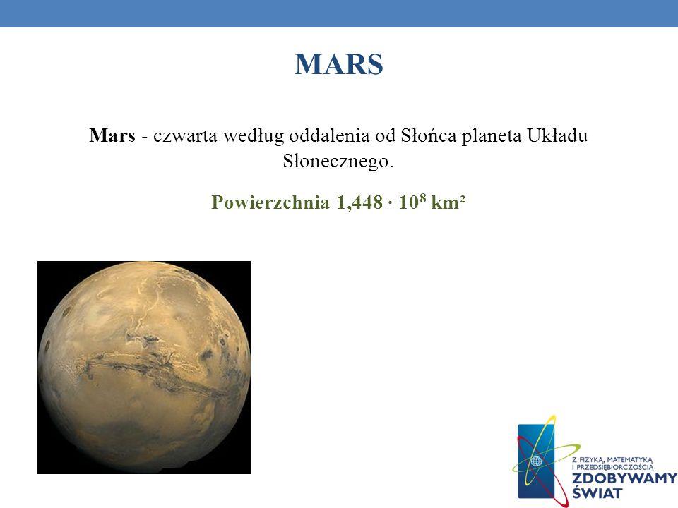 MARS Mars - czwarta według oddalenia od Słońca planeta Układu Słonecznego. Powierzchnia 1,448 10 8 km²