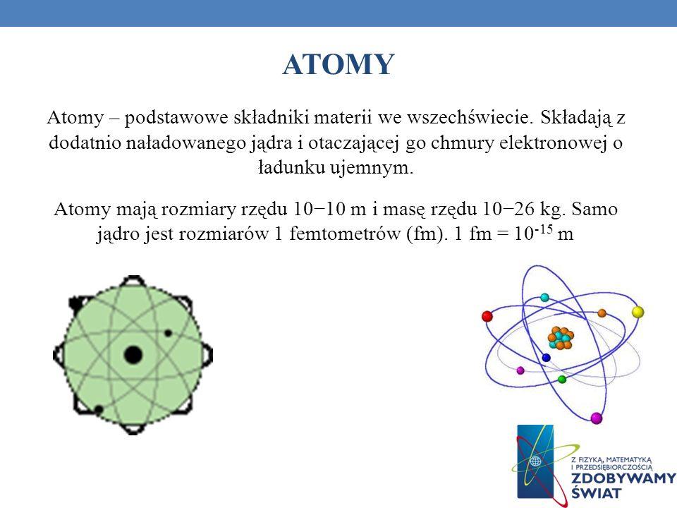 ATOMY Atomy – podstawowe składniki materii we wszechświecie. Składają z dodatnio naładowanego jądra i otaczającej go chmury elektronowej o ładunku uje