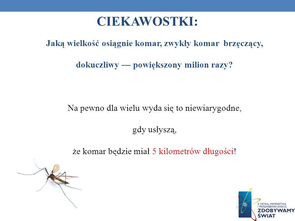 Jaką wielkość osiągnie komar, zwykły komar brzęczący, dokuczliwy powiększony milion razy? Na pewno dla wielu wyda się to niewiarygodne, gdy usłyszą, ż